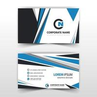 Blue and black shape corporate card template vector