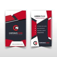 Red vertical business card template