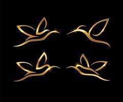 Golden Line Art Hummingbird Symbol Set vector