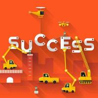 Success concept with construction