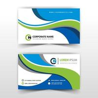 Blue and green wave business card template vector
