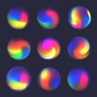 Holographic fluid bright gradient blurred sphere set vector