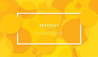 Abstract circles yellow background with white frame vector