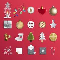 feliz navidad conjunto de elementos festivos vector
