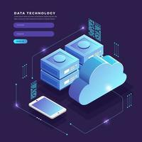 Isometric data technology login page concept vector