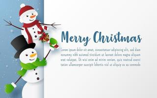 Christmas postcard template with snowmen