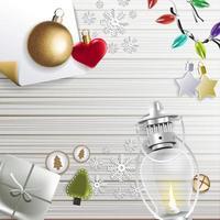 diseño festivo feliz navidad con adornos navideños vector