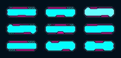 set di frame hud interfaccia futuristica al neon vettore