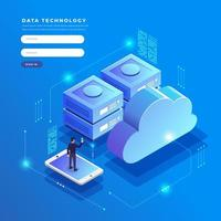 concepto de configuración de red de usuario de tecnología de datos isométricos vector