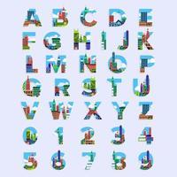 City alphabet set vector