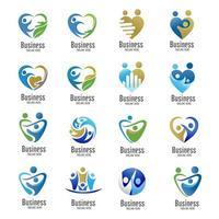 colección de logotipo de símbolo de cuidado de amor familiar vector