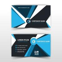 Blue and black geometric shape business card design vector