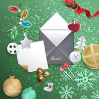 Merry Christmas festive design with Christmas decorations vector