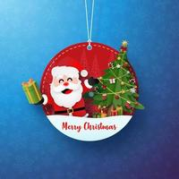 linda etiqueta decorativa navideña con santa claus vector