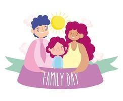 madre, padre e hijo para la celebración del día de la familia. vector