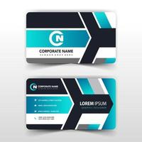 Bright blue gradient business card template vector