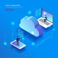 Isometric cloud computing technology user network configuration concept vector