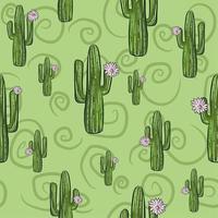 patrón transparente verde con cactus saguaro en flor