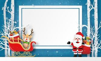 Christmas characters with a blank banner