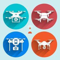 Colorful circle drone icon set vector