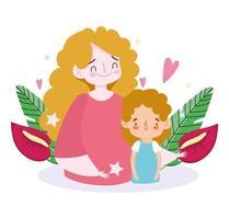 madre e hijo con hojas y corazones vector