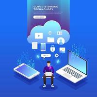 Isometric cloud storage technology user network configuration concept vector