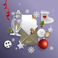 diseño festivo feliz navidad con adornos navideños