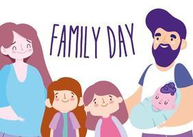 madre, padre e hijos para la celebración del día de la familia. vector