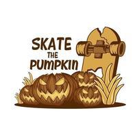 Skate the pumpkin t-shirt or poster design vector