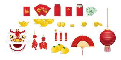 elementos del año nuevo chino vector