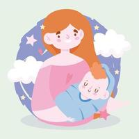 Mother and baby with clouds and stars vector