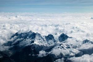 Aerial photography of snowy mountain in the Andes