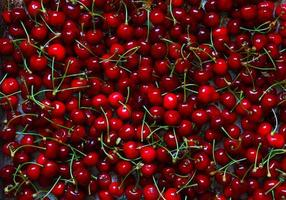 Photography of cherries on metal tray for food background