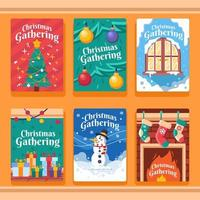 Fun Invitation Card Set for Christmas Gathering vector