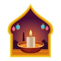 Lit candle in traditional middle eastern frame