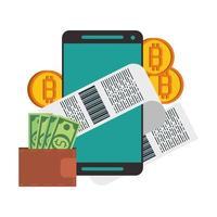concepto de pago en línea de criptomonedas bitcoin