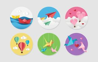 Colourful Origami Set Sticker Pack