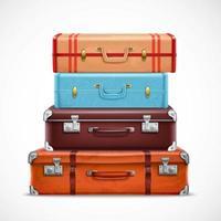 Set of realistic retro suitcases vector