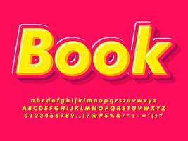Modern pink and yellow 3d alphabet and text