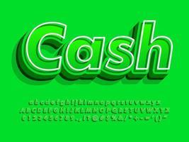 3d green cash text and alphabet vector