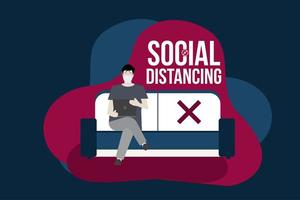 Social distancing concept with man on couch vector
