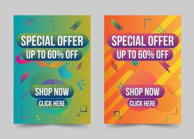 Modern abstract shape gradient special offer banner set vector