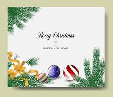 Christmas Greeting Card with ornaments and branches vector