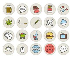 Addictions and bad habits color icons set vector