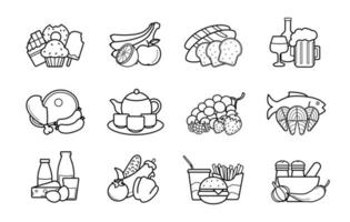 Food and drinks linear icons set