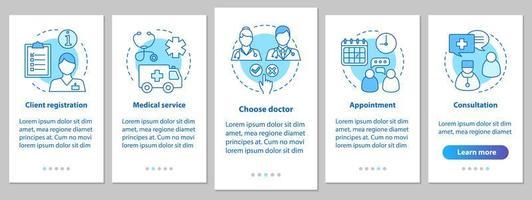 página de aplicación móvil de incorporación de servicios médicos vector