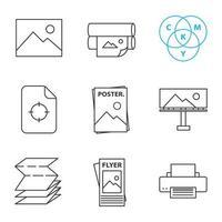 conjunto de iconos lineales de impresión