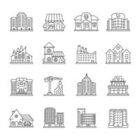 City buildings linear icons set vector