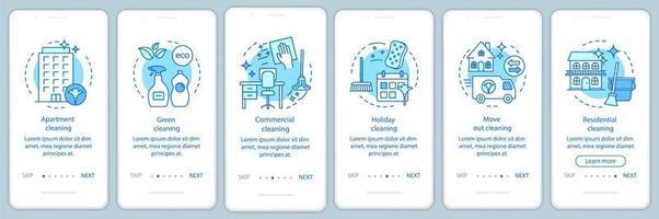 servicios de limpieza onboarding app móvil vector