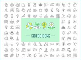 Ecology and nature care linear icons set vector